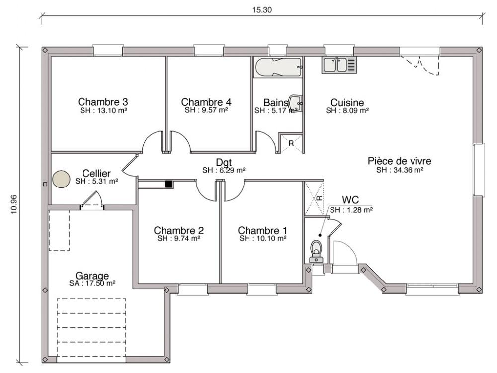 Favori Construction Maison Individuelle Traditionnelle Cannelle De 103 M2  QA72