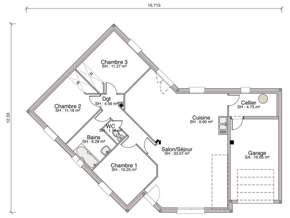 Construction maison individuelle traditionnelle lys de 92 m2 - Plan de maison en v plain pied ...