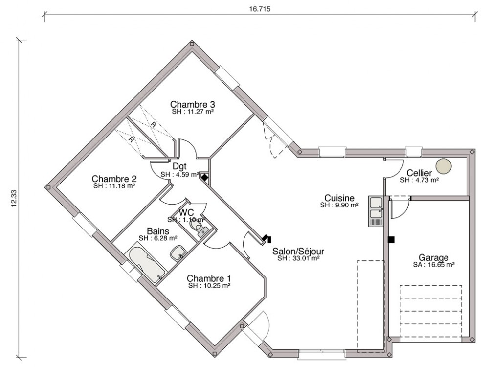 Plan Maison Mitoyenne Plain Pied Affordable Plan Maison Mitoyenne