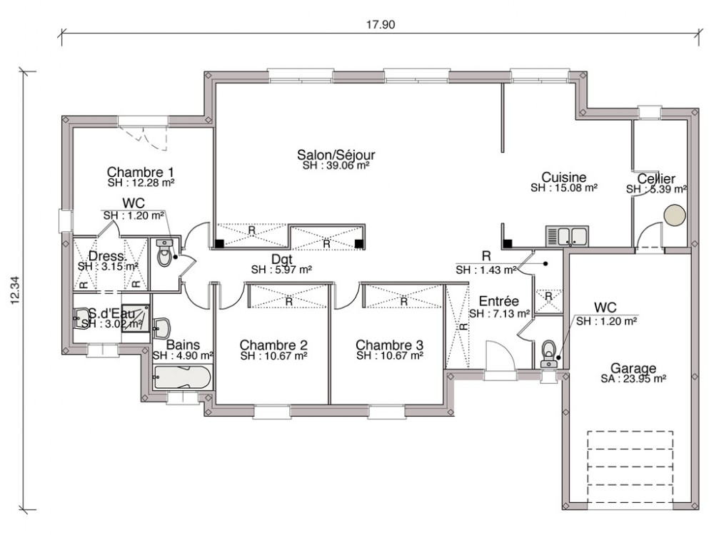 Plan Maison Rdc  Chambres Elegant Maison Hera Chambres With Plan