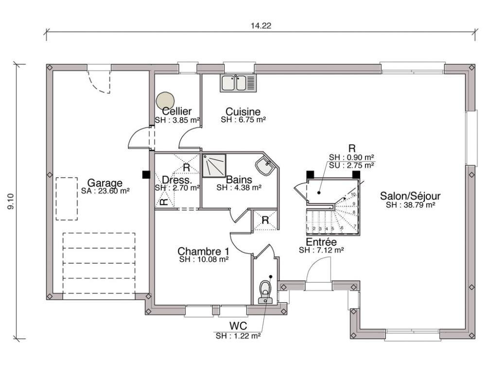 Construction maison individuelle traditionnelle Byblos de 126 m2