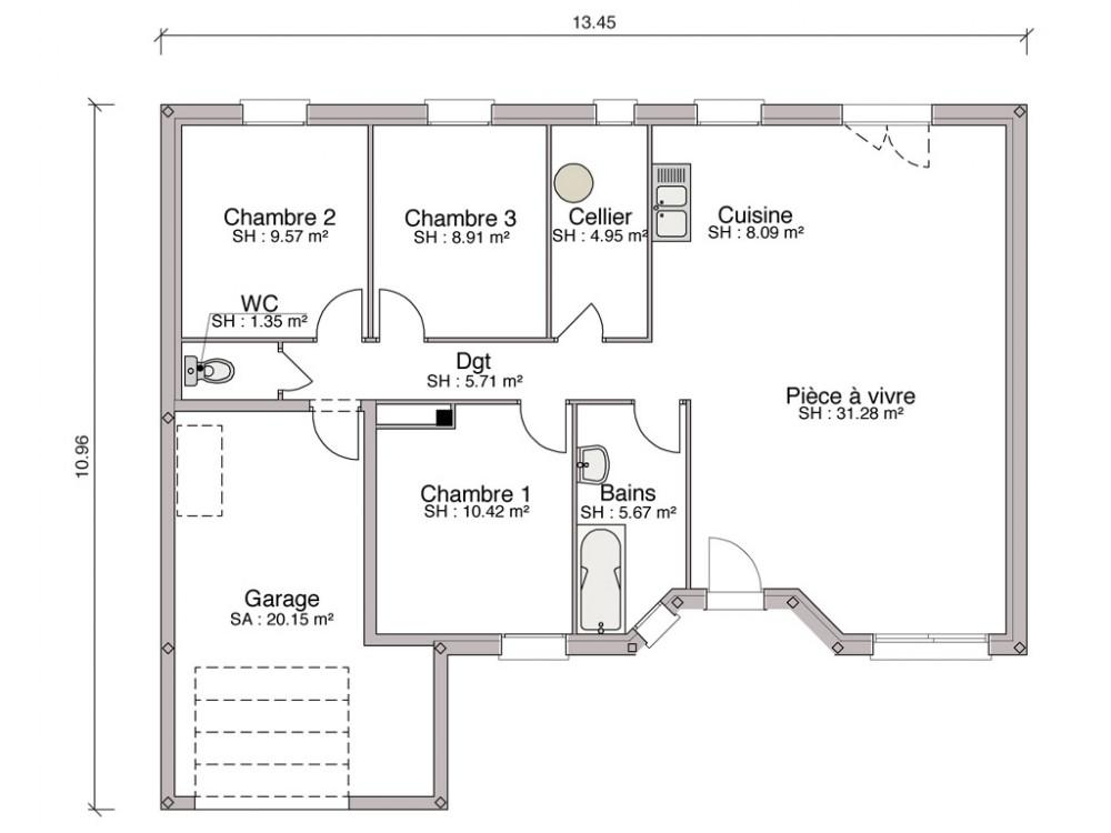 Construction maison individuelle traditionnelle cannelle for Construction maison mitoyenne plan