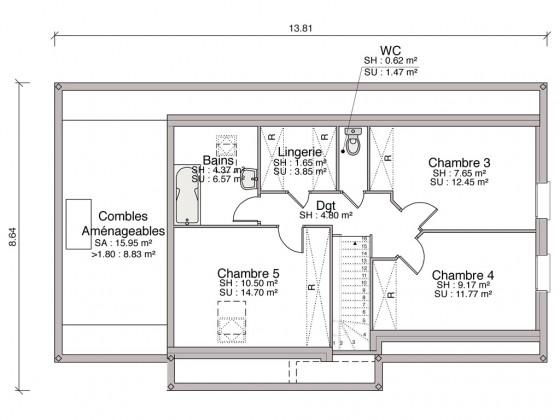 Construction maison individuelle traditionnelle el gance de 110 m2 - Prix m2 construction maison neuve rt 2012 ...