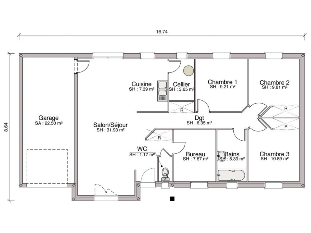 Gallery of les plans des maisons lgance et baya ont t for Plan maison 6 chambres