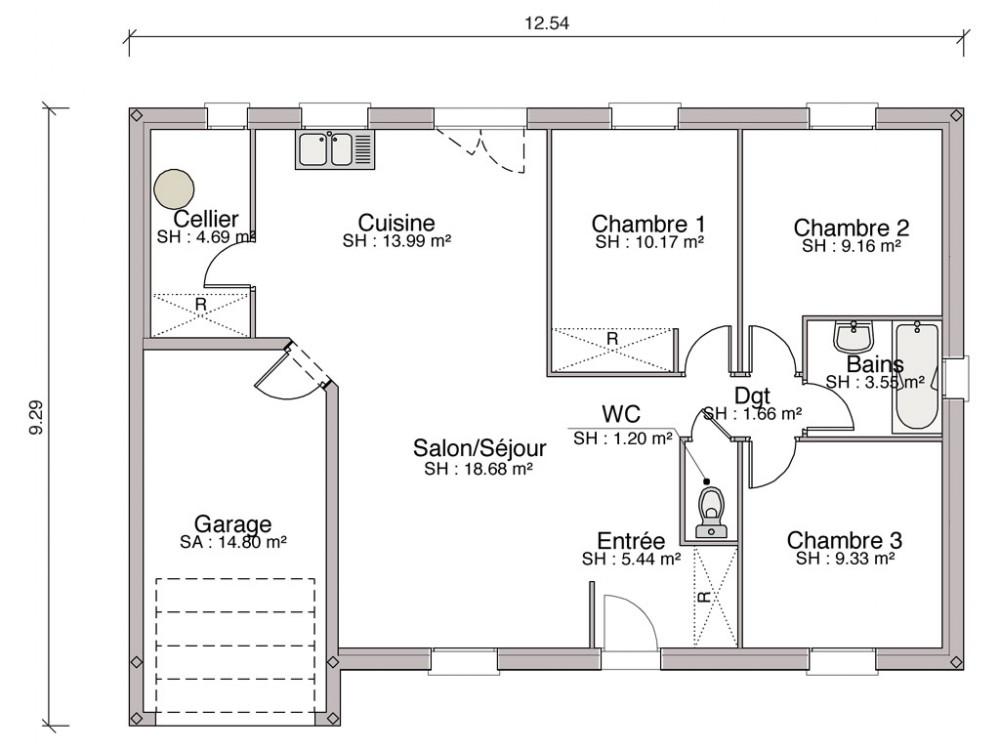 Construction maison individuelle traditionnelle harmonie - Plan de maison mitoyenne ...