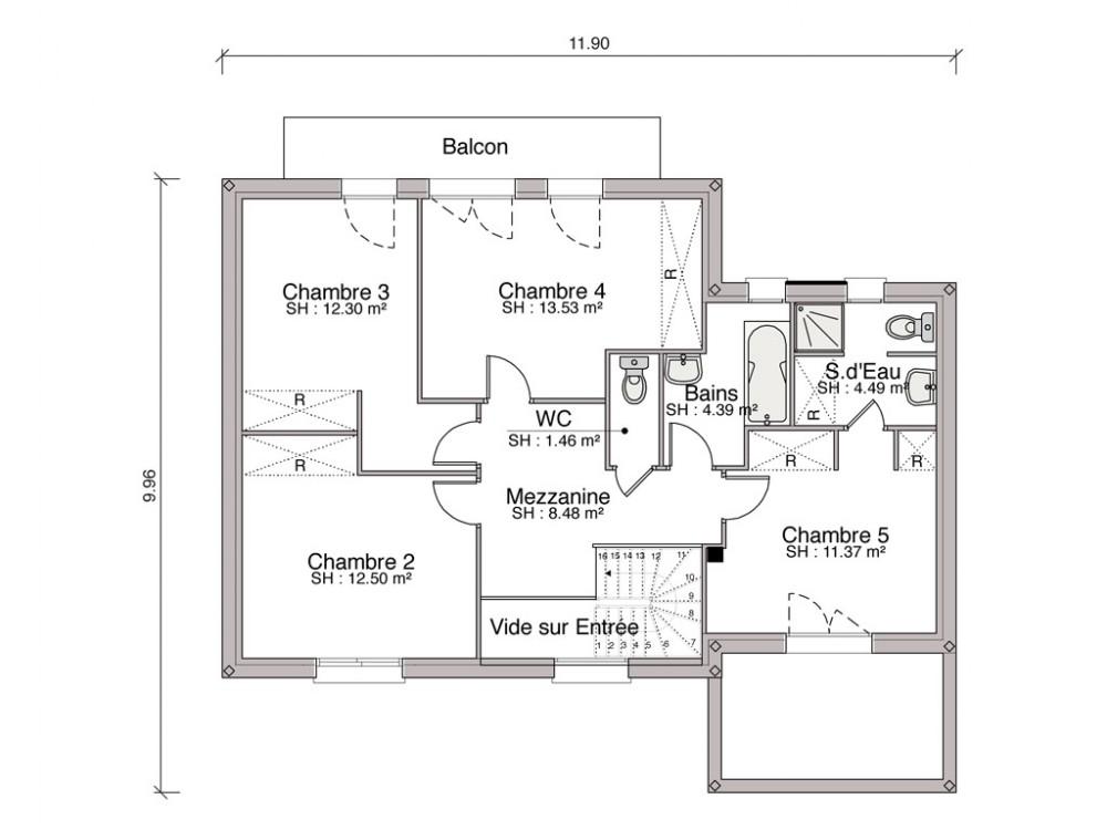 Construction maison individuelle contemporaine iseo de 128 m2 - Maison contemporaine toit 4 pentes ...