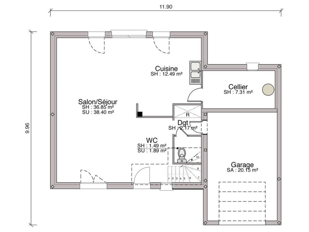 plan de maison 4 versants