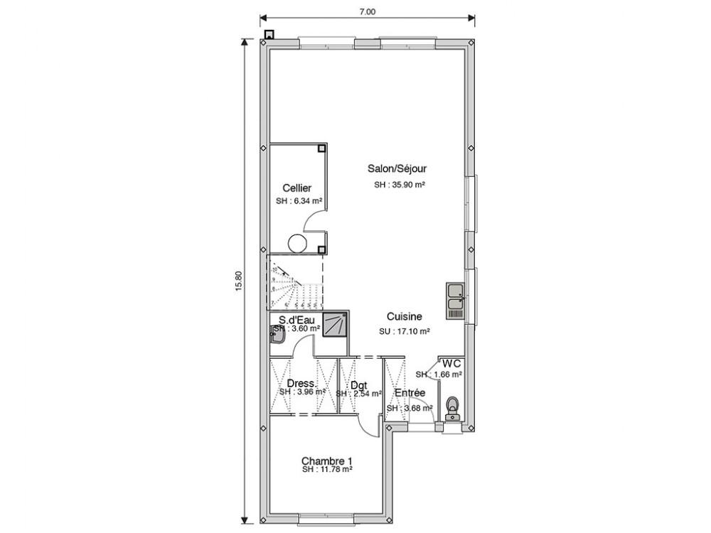 Extrêmement Construction maison à énergie positive - Maison de ville de 146 m² UR81