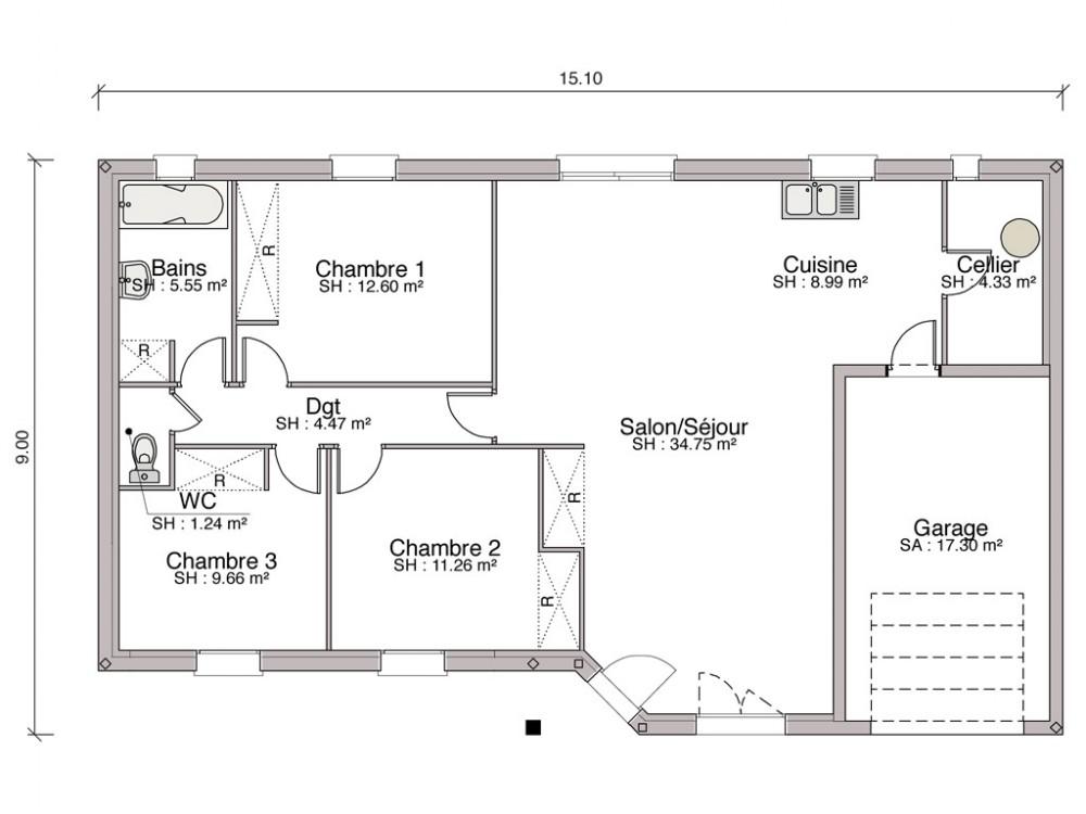 le plan d une maison stunning dessiner un plan de maison with le plan d une maison modern. Black Bedroom Furniture Sets. Home Design Ideas