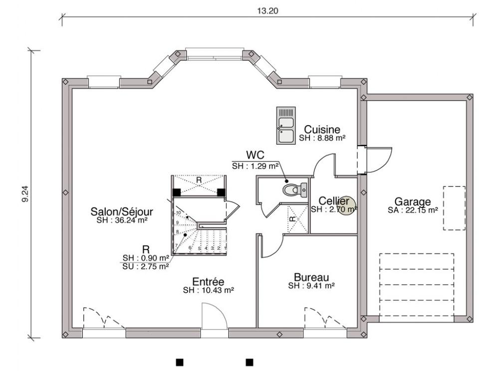 Plan maison avec bow window ventana blog for Bow window construction detail