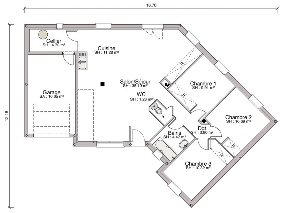 Construction maison individuelle traditionnelle iris de 90 m2 for Plan maison design