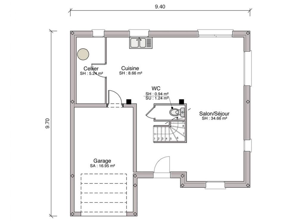 construction maison individuelle traditionnelle r camier de 114 m2. Black Bedroom Furniture Sets. Home Design Ideas