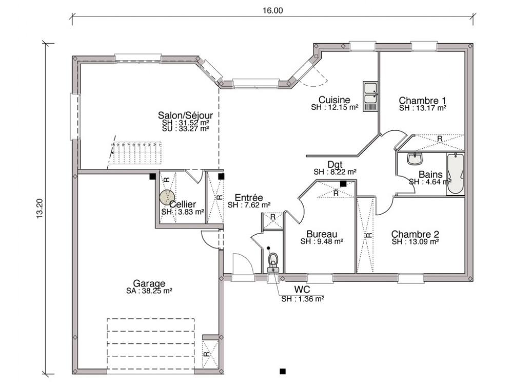 Populaire Construction maison individuelle contemporaine Riva de 138 m2 EP78