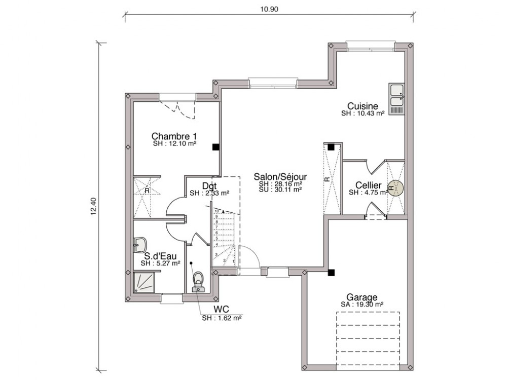 Construction maison individuelle contemporaine s duction for Plan maison moderne 110m2