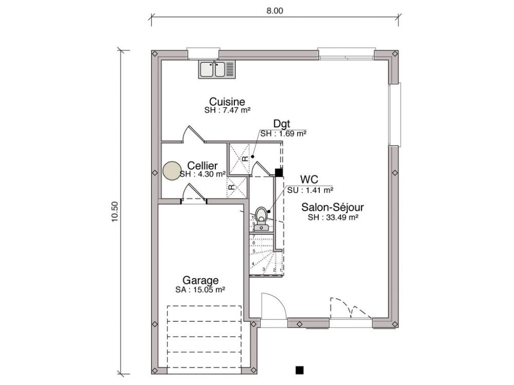 construction maison individuelle traditionnelle rambouillet de 107 m2. Black Bedroom Furniture Sets. Home Design Ideas