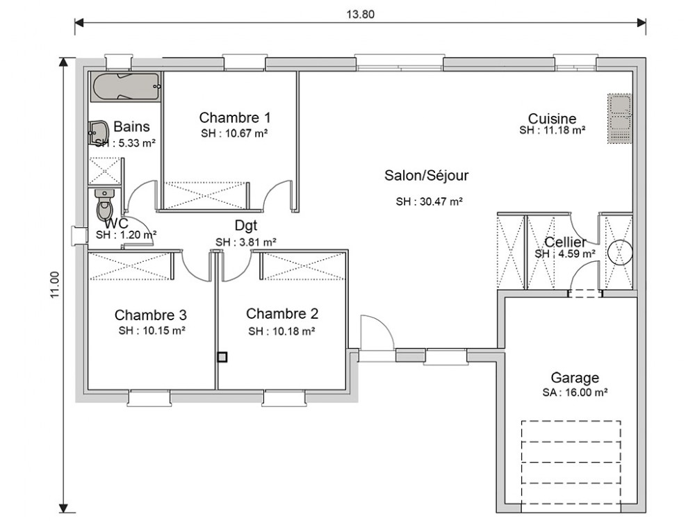 Plan Maison Rdc 3 Chambres. House With Plan Maison Rdc 3 Chambres