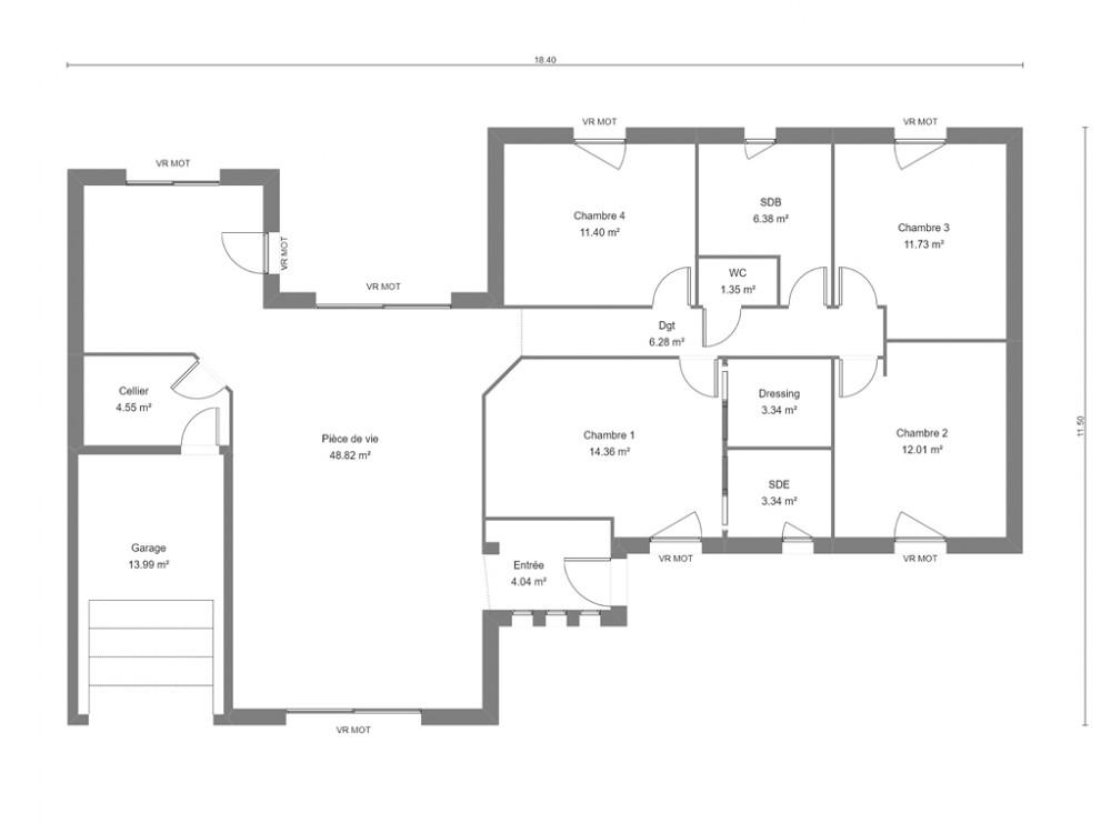Plan De Maison Contemporaine De Plain Pied Avec Jardin D Hiver