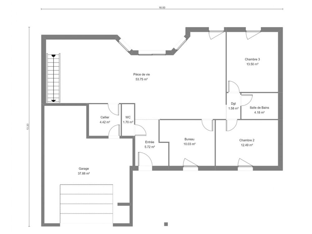 Un Plan De Maison Contemporaine Avec Toit Plat Et Toiture Arrondie